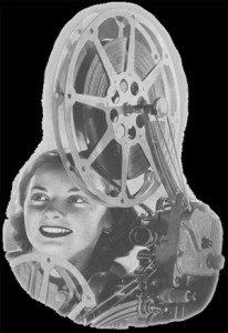 Image of film reel with movie enthusiast